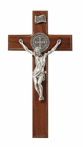 James Brennan 10in Saint Benedict Walnut Wood Wall Cross