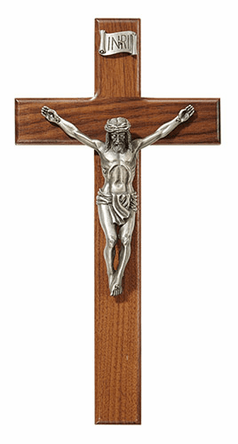"James Brennan 12"" Walnut Holy Shroud Crucifix Cross"