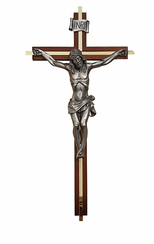 "James Brennan 12"" Walnut Wall Crucifix w/Gold-Plated Inlay and Pewter Corpus"