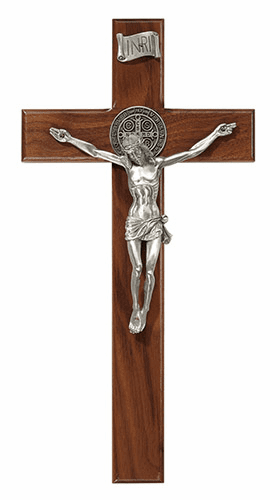 James Brennan 12in Saint Benedict Walnut Wood Wall Cross