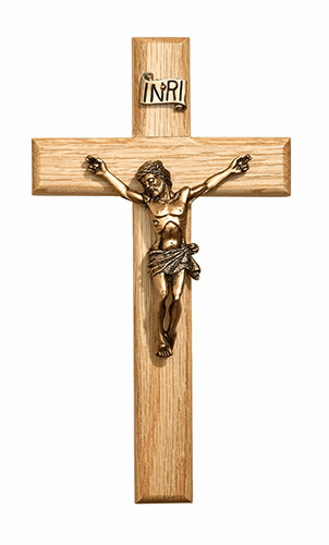 "James Brennan 8"" Oak Wood Wall Crucifix Cross"