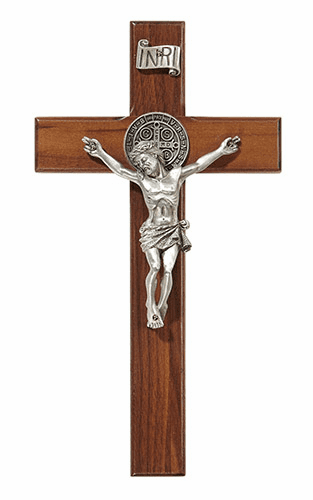 "James Brennan 8"" Saint Benedict Walnut Wood Wall Cross"