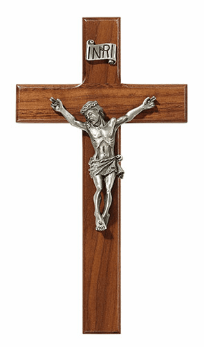 "James Brennan 8"" Walnut Wood Wall Crucifix Cross"