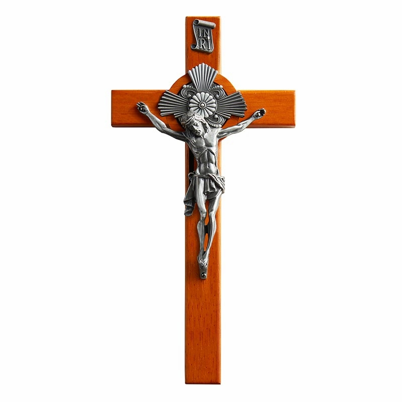 James Brennan Baroque Crucifix Solid Wood with Silver Corpus
