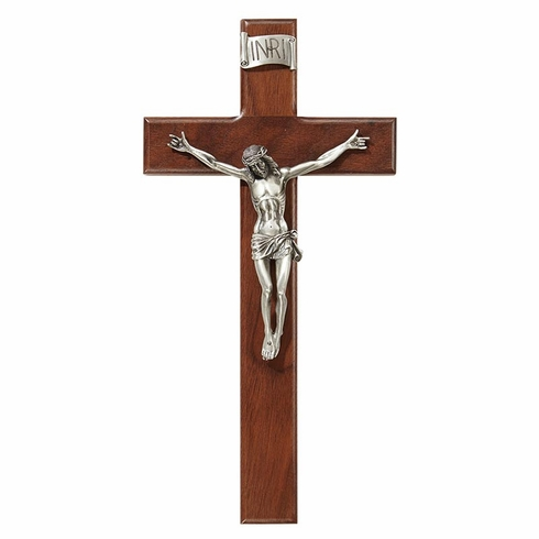 James Brennan 12in Silver Corpus Walnut Finish Maple Hardwood Crucifix Cross