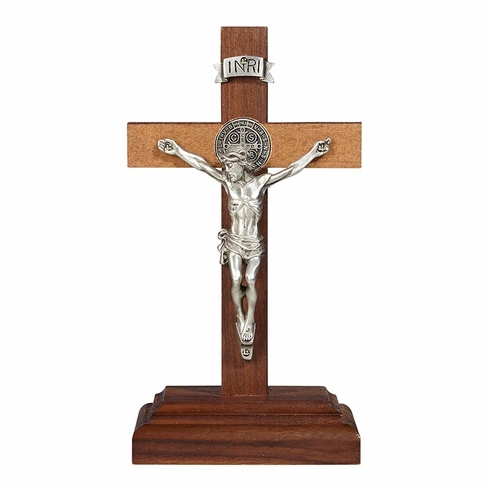 James Brennan St Benedict Walnut Finish Maple Hardwood Standing Cross