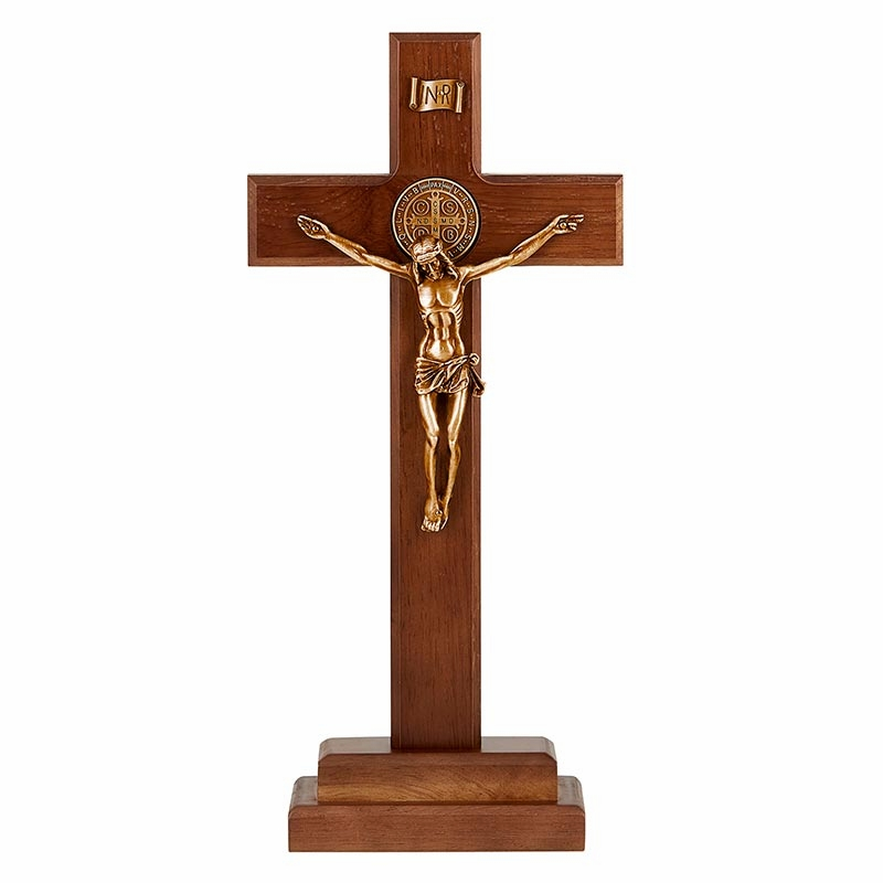 James Brennan St Benedict Walnut Finish with Gold Corpus Standing Cross