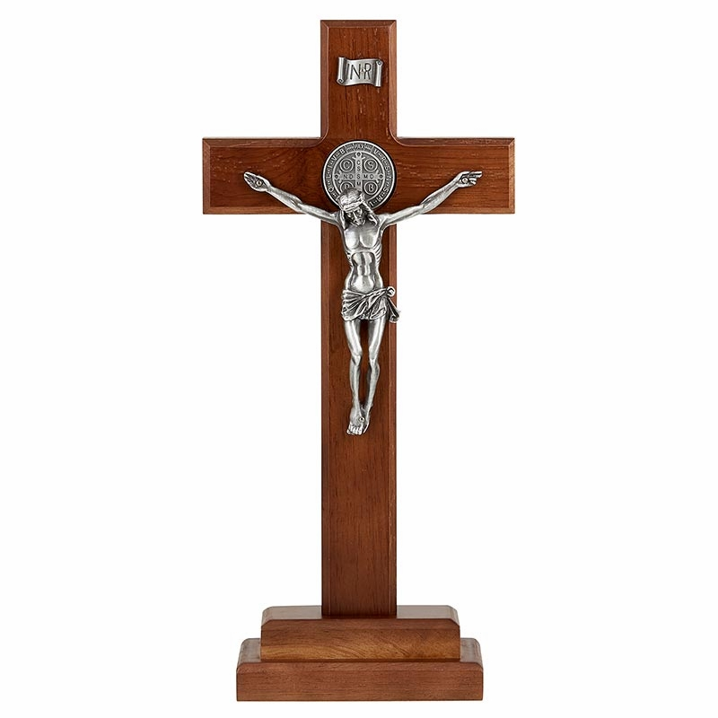 James Brennan St Benedict Walnut Finish with Silver Corpus Standing Cross