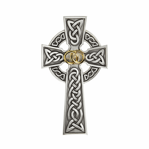 James Brennan Wedding Rings Knotted Celtic Wedding Antique Pewter Wall Cross