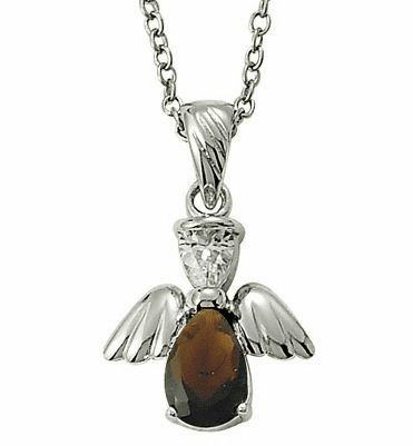 January Birthstone Angel Wing Sterling Silver Necklace