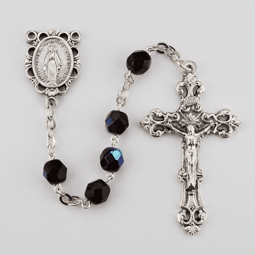 January Garnet Birthstone Crystal Prayer Rosary w/Scallop Miraculous by McVan