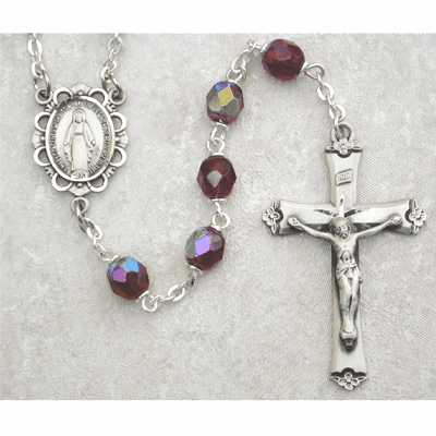 January Garnet Birthstone Crystal Sterling Silver Prayer Rosary by McVan