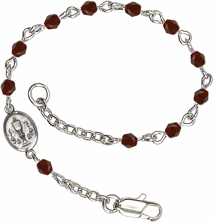 January Garnet Checo Fire Polished Beads w/Pewter Communion Chalice Charm Bracelet by Bliss Mfg