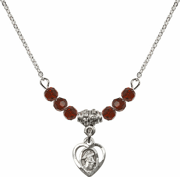January Garnet Guardian Angel Heart 6 Crystal Bead Necklace by Bliss Mfg