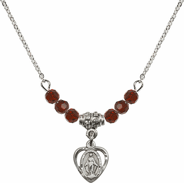 January Garnet Miraculous Heart 6 Crystal Bead Necklace by Bliss Mfg