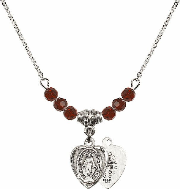 January Garnet Miraculous Heart Shaped 6 Crystal Bead Necklace by Bliss Mfg