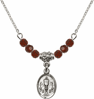 January Garnet Oval Chalice Charm w/Crystal Beads Necklace by Bliss Mfg