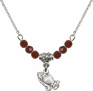 January Garnet Praying Hands 6 Crystal Bead Necklace by Bliss Mfg