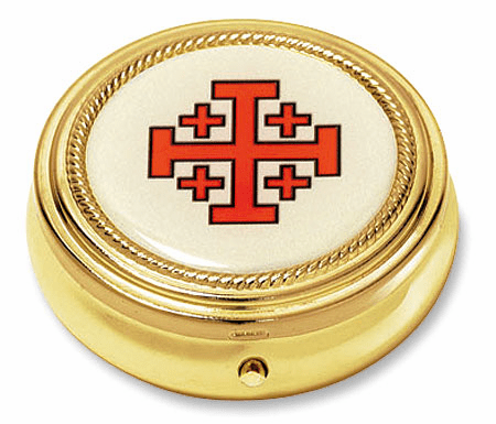 Jerusalem Cross Eucharist Pyx with Epoxy Lid Gold Finished 3pc Sets