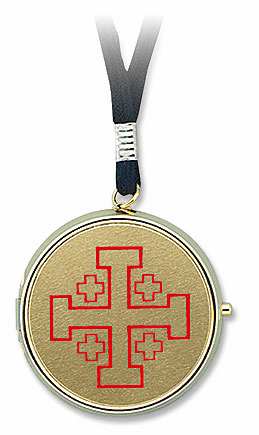 Jerusalem Cross Gold Finished Eucharist Pyx with Cord 3pc Sets Stratford Chapel