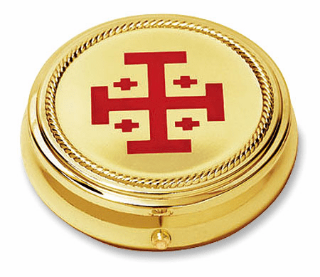 Jerusalem Cross Hospital Eucharist Pyx with Gold Finished 2pc Sets by Stratford Chapel