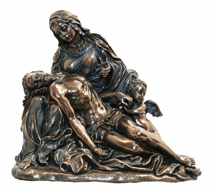 Jesus and Mary Pieta Agostino Carracci Cold Cast Bronze Statue by Veronese