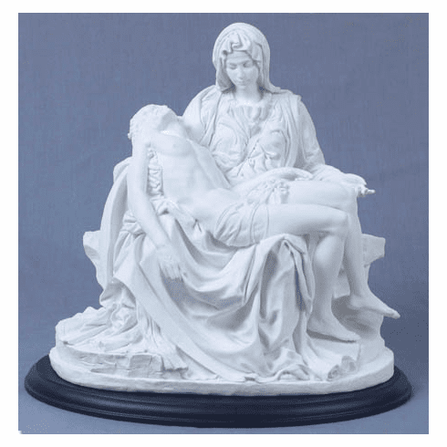 Jesus and Mary Pieta White Religious Statue by Veronese Collection