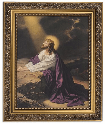 Jesus at Gethsemane Framed Print Picture with Gold Frame by Gerffert