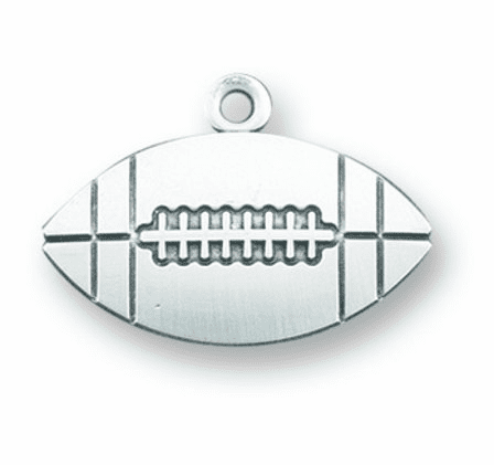 Jesus Christ Football Sterling Silver Saint Medal Necklace by HMH Religious