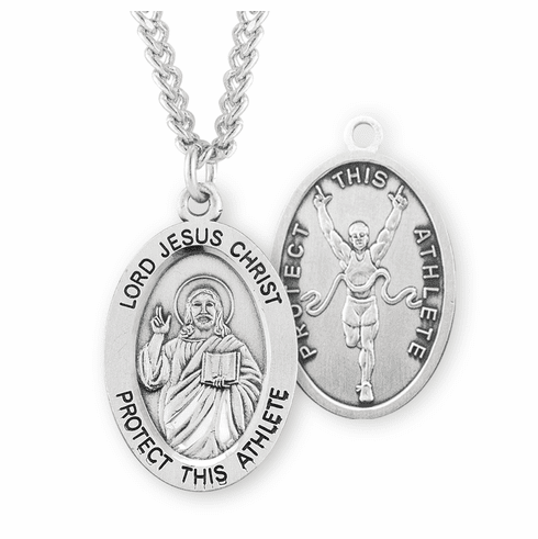 HMH Religious Jesus Christ Track & Field Oval Sterling Silver Sports Necklace