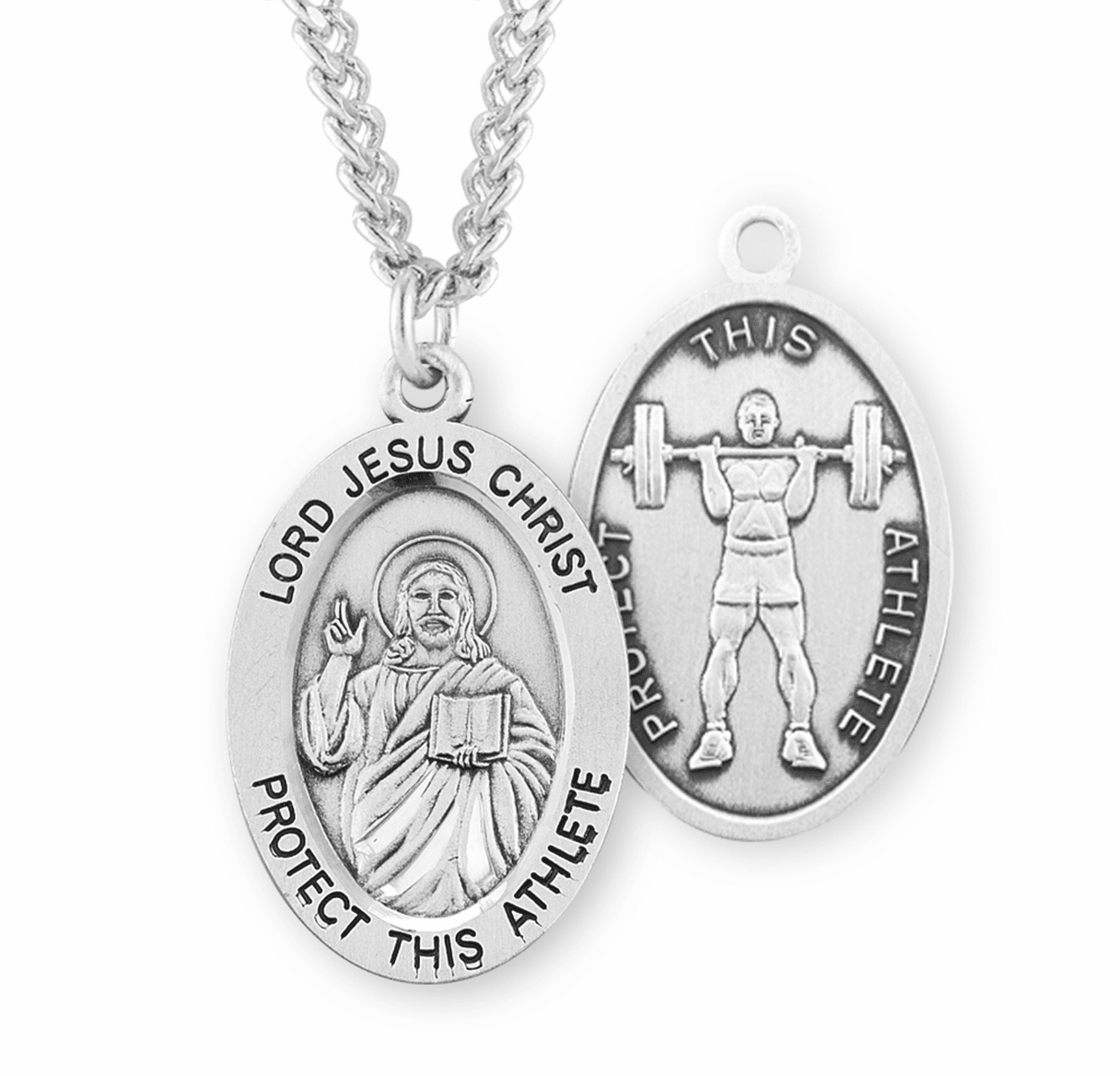 Jesus Christ Weight Lifting Oval Sterling Silver Sports Necklace