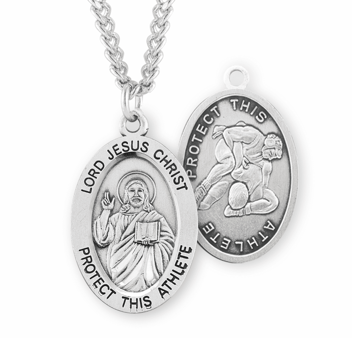 HMH Religious Jesus Christ Wrestling Oval Sterling Silver Sports Necklace