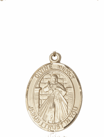 Bliss Jesus Divine Mercy & St Maria Faustina 14kt Gold Medal Pendant