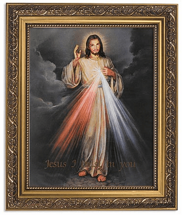 Jesus Divine Mercy Framed Print Picture with Gold Frame by Gerffert