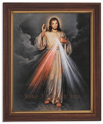 Jesus Divine Mercy Framed Print Picture with Woodtone Frame by Gerffert