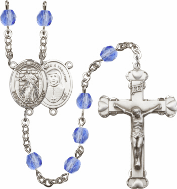 Jesus Divine Mercy Patron Saint Birthstone Fire Polished Crystal Prayer Rosary