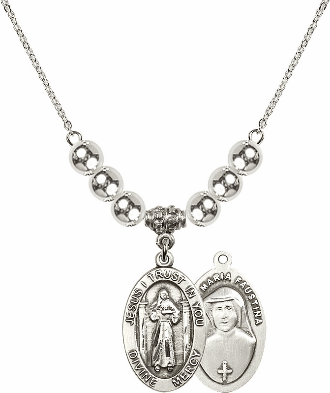 Jesus Divine Mercy Sterling Charm w/Silver Beads Necklace by Bliss Mfg