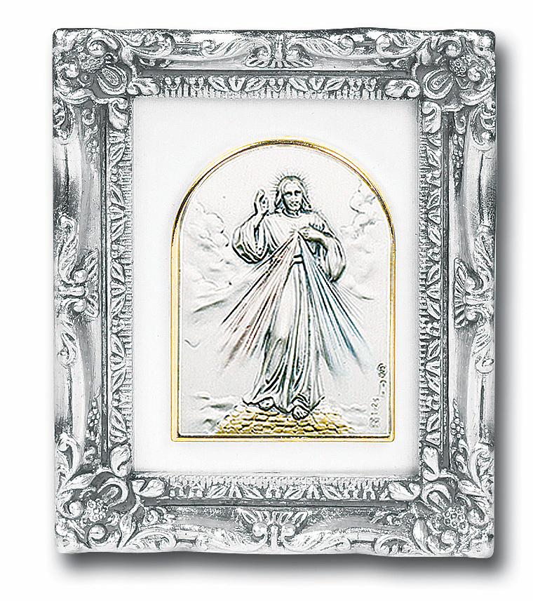Jesus Divine Mercy Sterling Image w/Antique Silver Frame Picture by Salerni