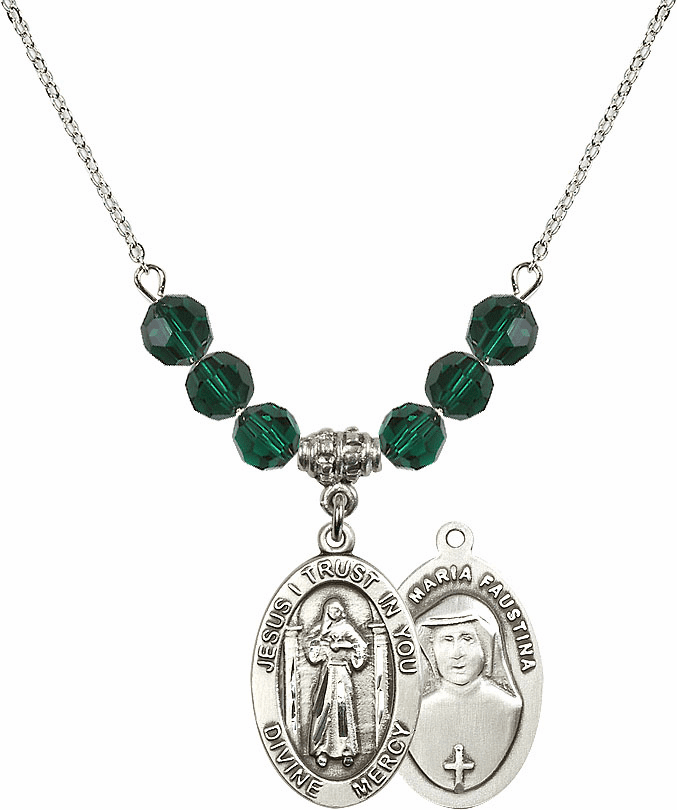 Jesus Divine Mercy Sterling May Emerald Swarovski Crystal Beaded Necklace by Bliss Mfg