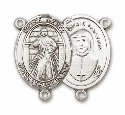 Jesus Divine Mercy Sterling Silver Religious Medal Rosary Center by Bliss