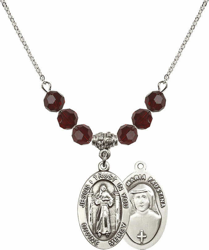 Jesus Divine Mercy Swarovski Crystal Beaded Necklace by Bliss Mfg