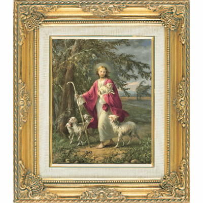 Jesus Good Shepherd under Glass w/Gold Framed Picture by Cromo N B Italy
