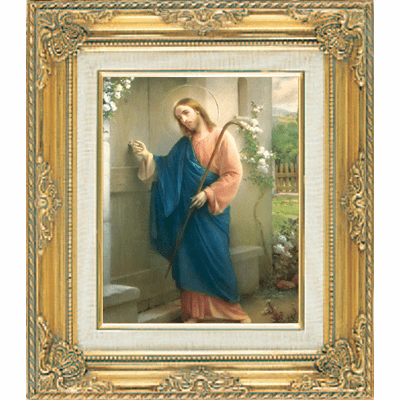 Jesus Knocking on Door under Glass w/Gold Framed Picture by Cromo N B Italy