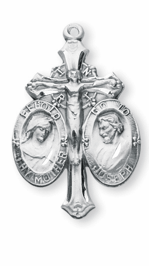 Jesus-Mary-Joseph Sterling Crucifix JMJ Cross Medal Rosary Part by HMH Religious