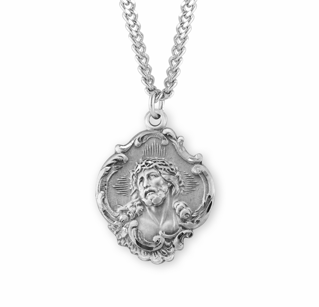 Jesus w/Crown of Thorns Sterling Silver Necklace by HMH Religious