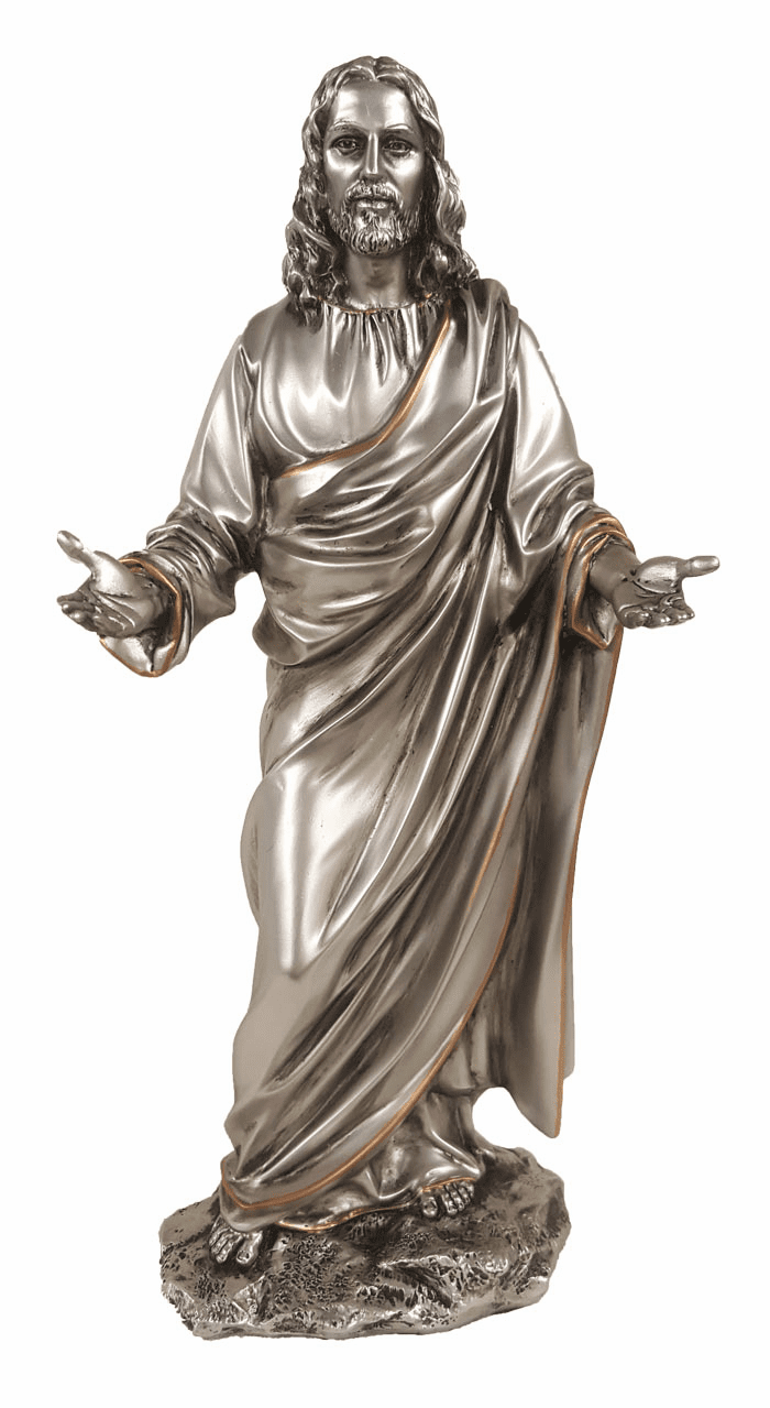 Jesus with Open Arms Pewter Style Statue by Veronese