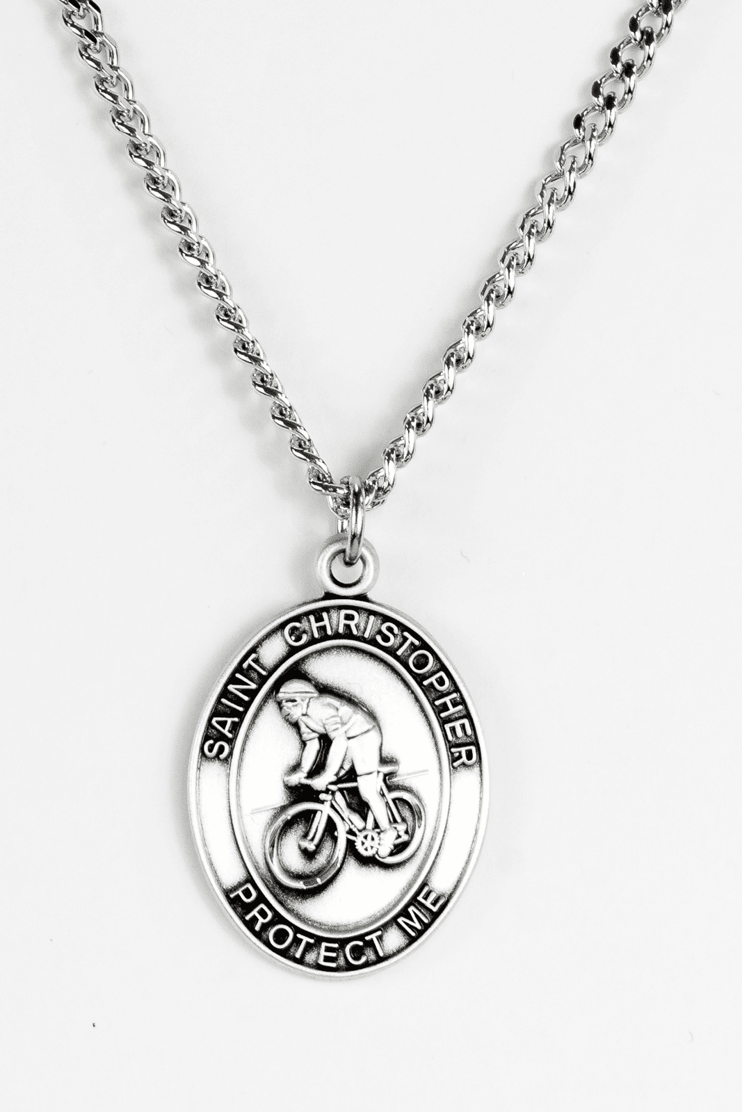 Jeweled Cross Biking St. Christopher Medal Necklace