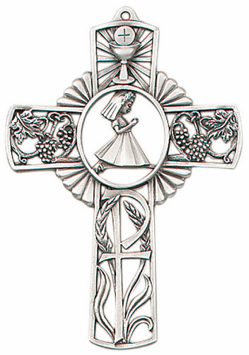 Jeweled Cross First Holy Communion Girl's Pewter Wall Cross