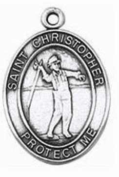 Jeweled Cross Fishing St. Christopher Saint Medal