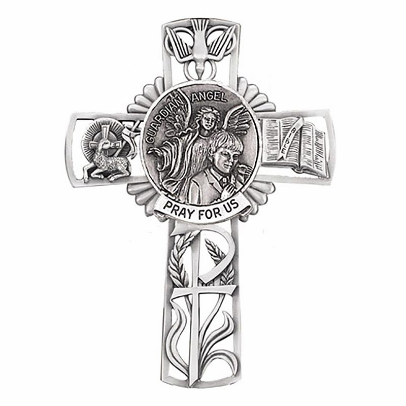 Jeweled Cross Guardian Angel Boy Bethany Collection Pewter Wall Cross